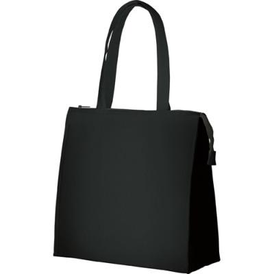 キャンバス保冷バッグ スクエアM ブラック シルク印刷